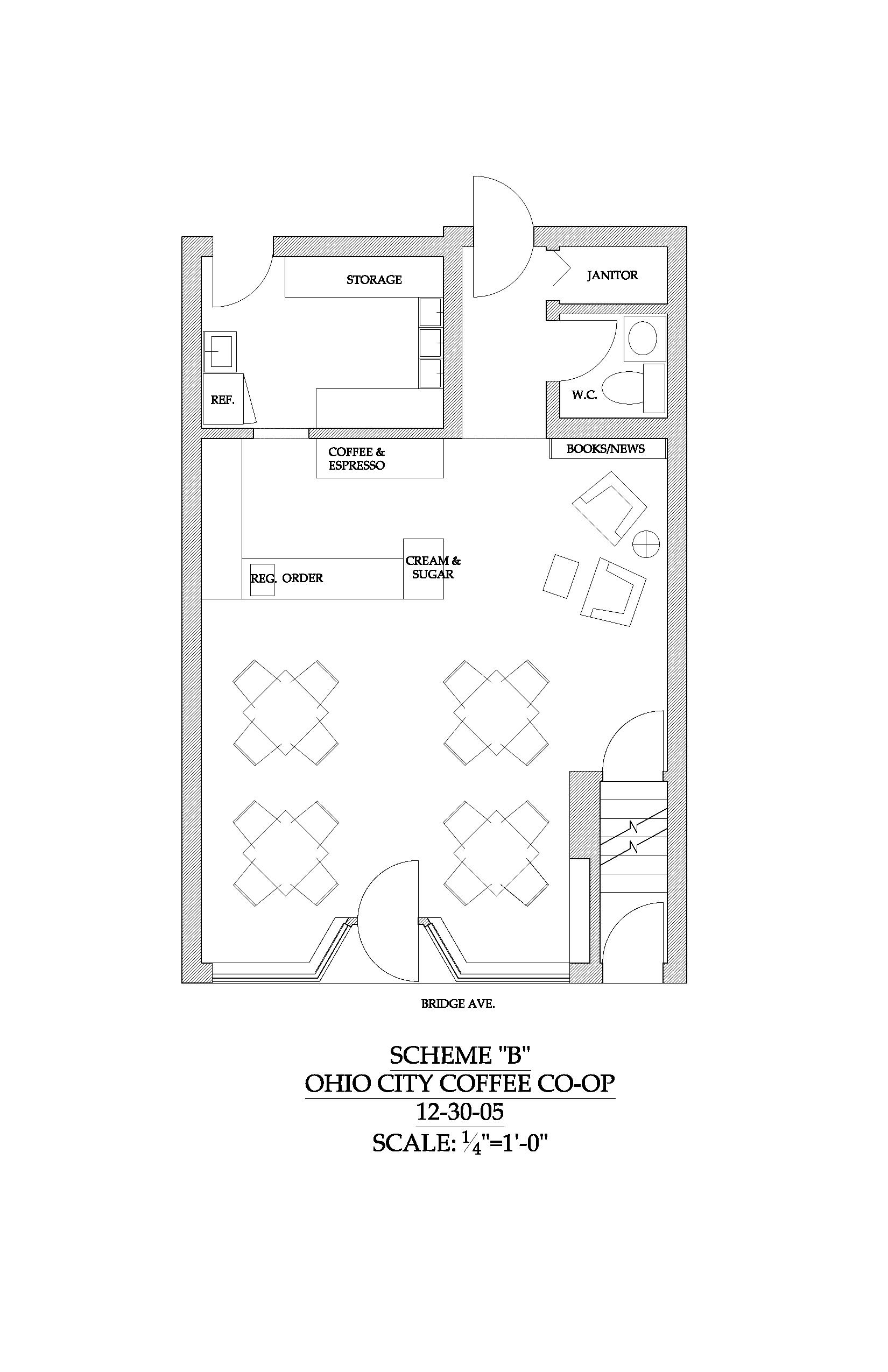 Coffee shop floor plan layout interior design ideas for Juice bar floor plan